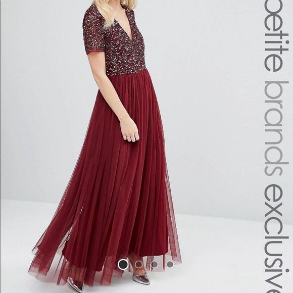 ASOS Petite Dresses & Skirts - ASOS Maya Petite V-Neck Sequin Maxi Tulle Dress
